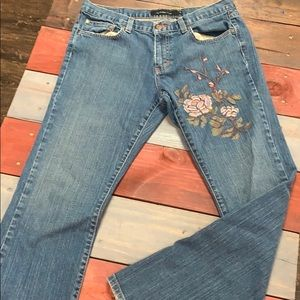 Calvin Klein Low Rise Flare Jeans with Embroidery